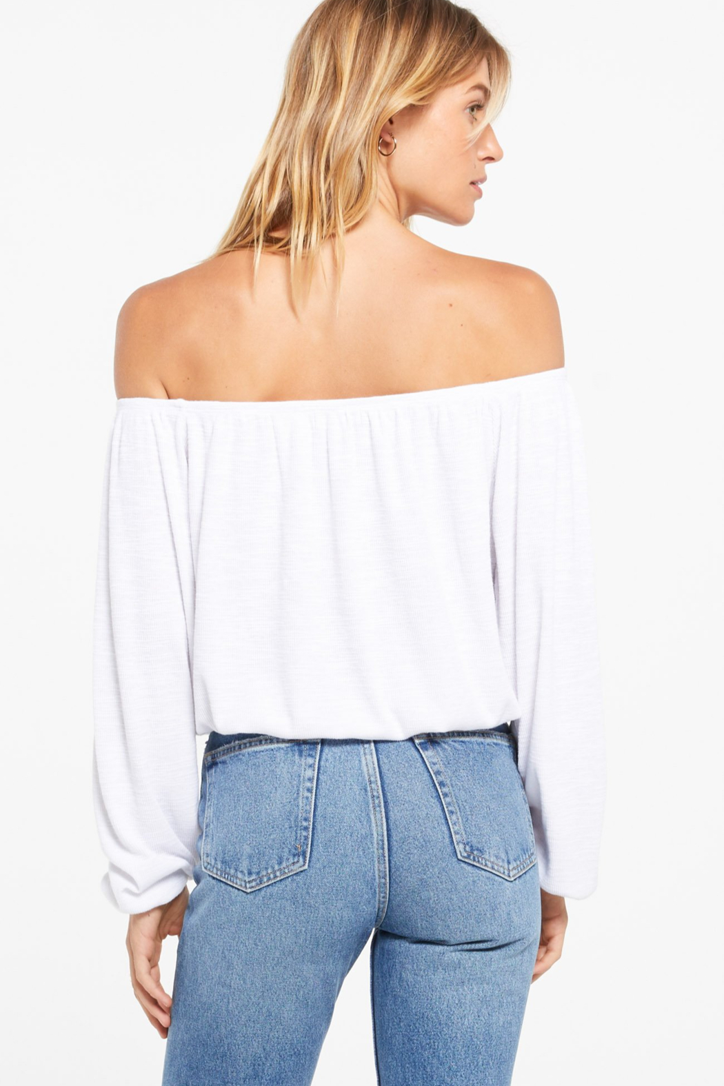 z supply Liv Slub Off Shoulder Top - Back Cropped Image