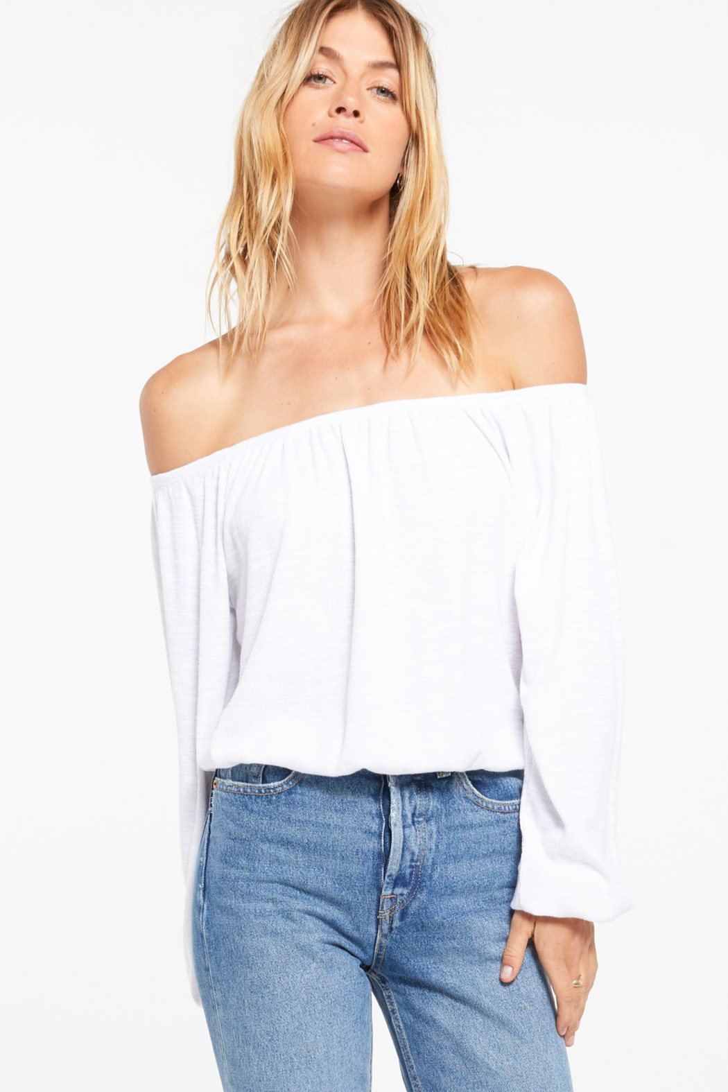 z supply Liv Slub Off Shoulder Top - Main Image