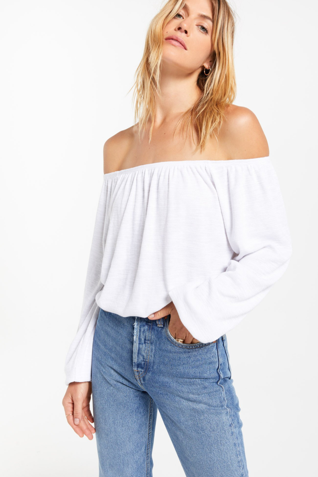 z supply Liv Slub Off Shoulder Top - Front Full Image