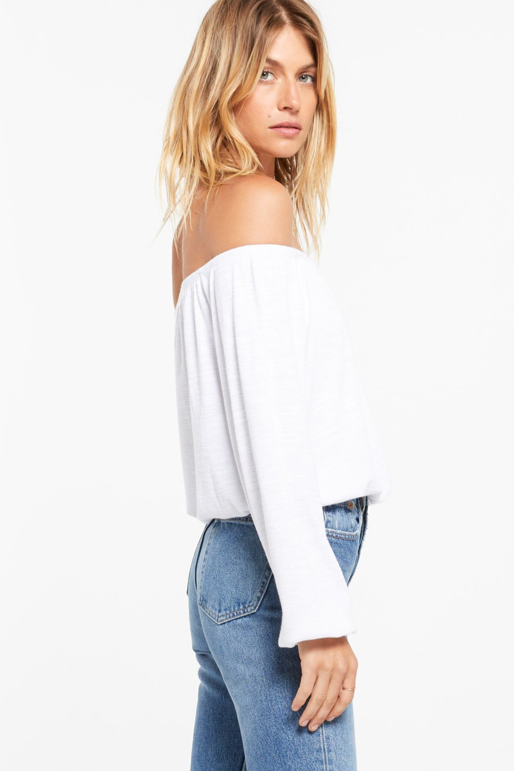 z supply Liv Slub Off Shoulder Top - Side Cropped Image