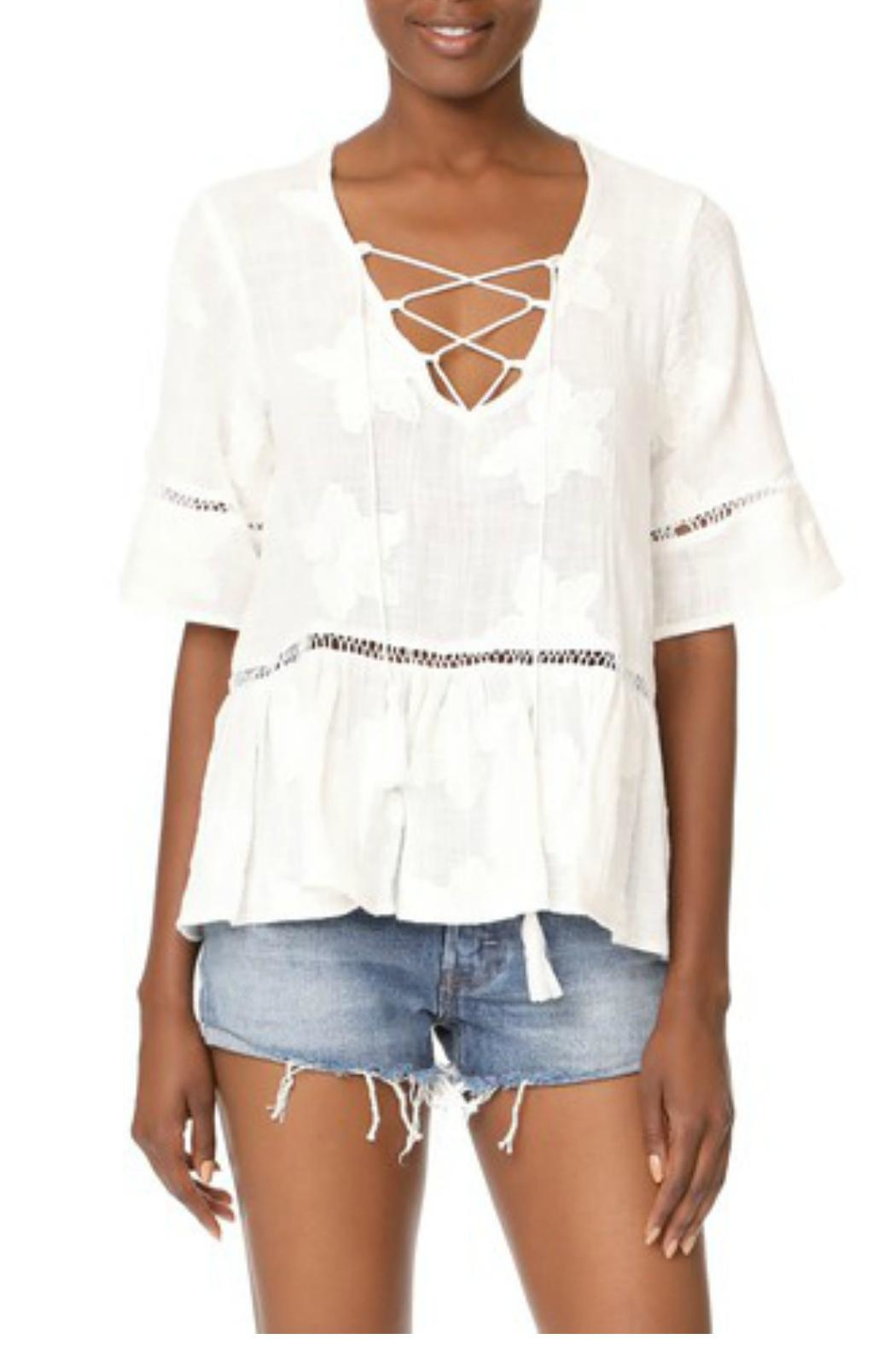 Liv Los Angeles Lace Up Top - Front Cropped Image
