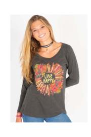 Natural Life Live Happy Gold Burst Long Sleeve Boho Tee - Product Mini Image
