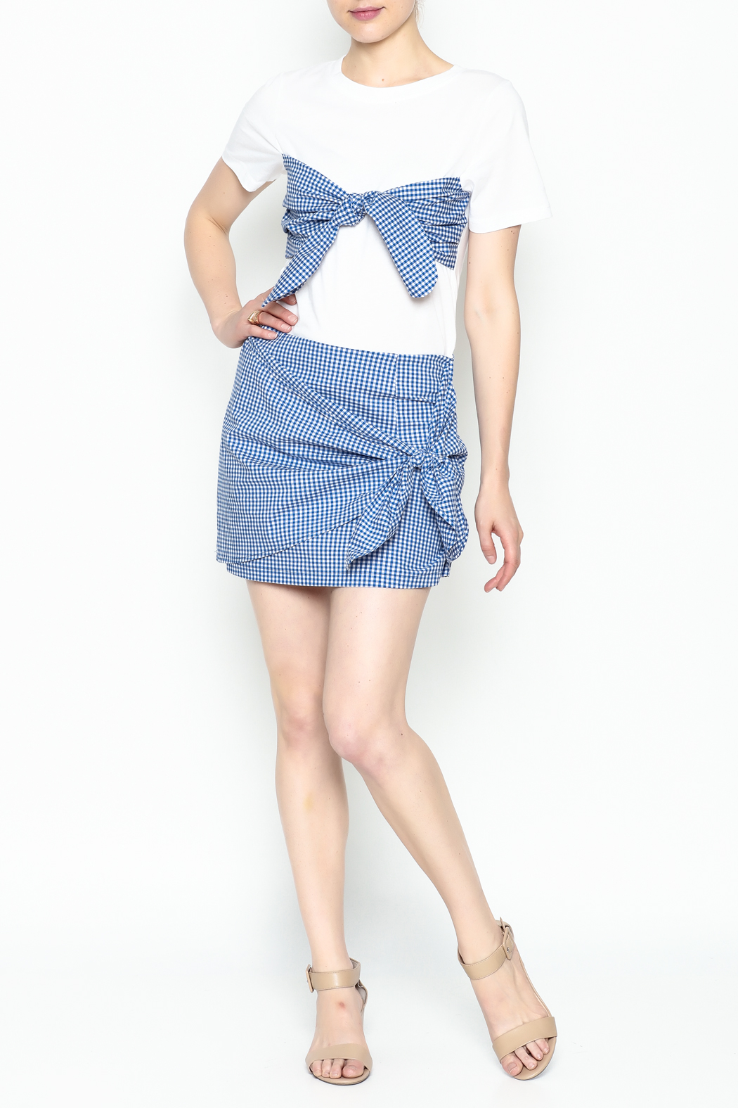 Lively Gingham Skirt - Side Cropped Image