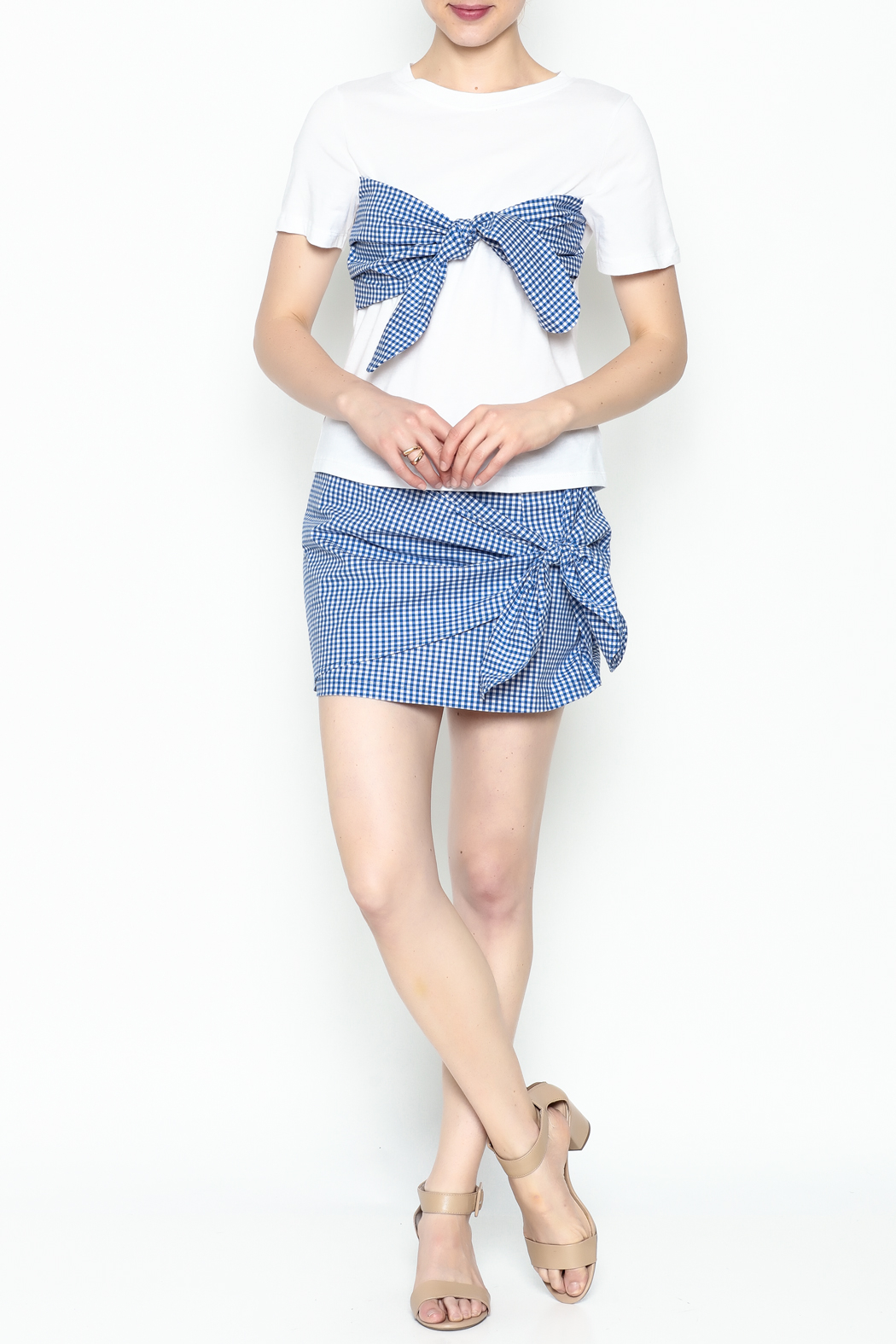 Lively Gingham Short Sleeve Top - Side Cropped Image
