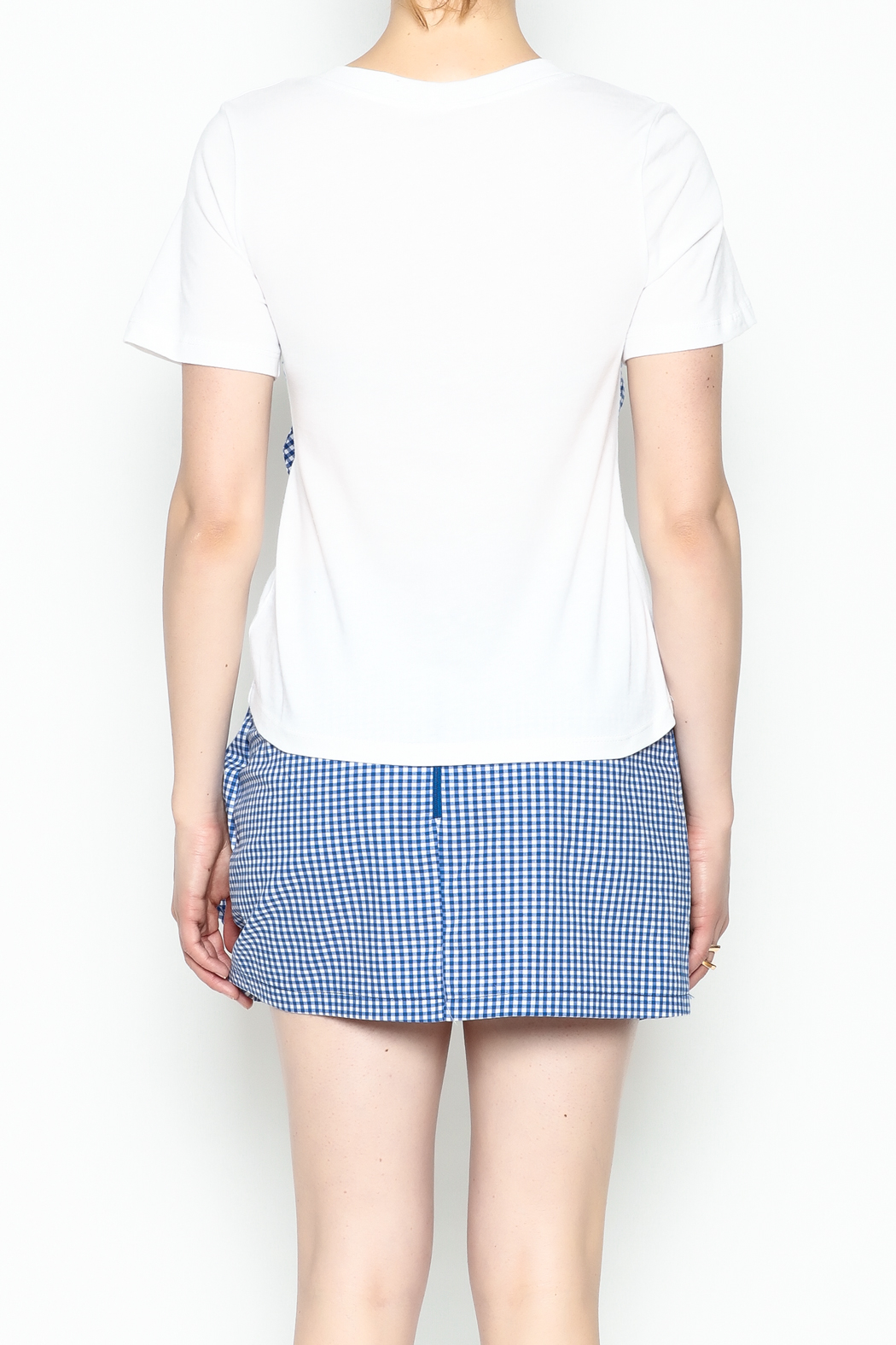 Lively Gingham Short Sleeve Top - Back Cropped Image