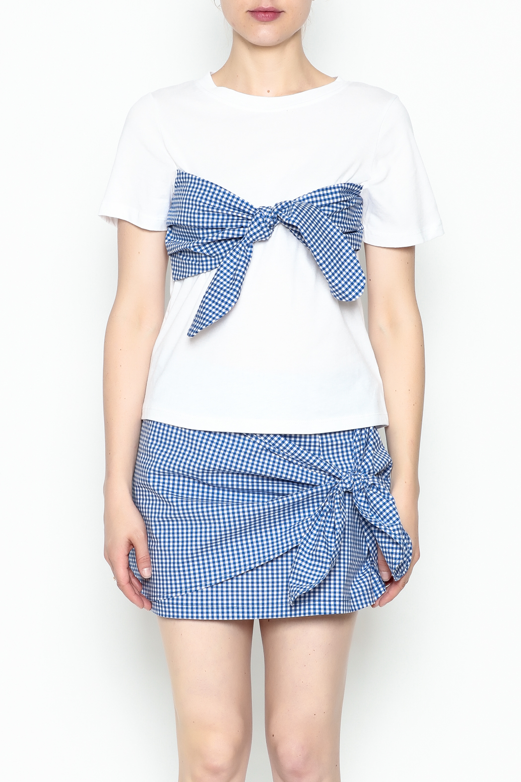 Lively Gingham Short Sleeve Top - Front Full Image