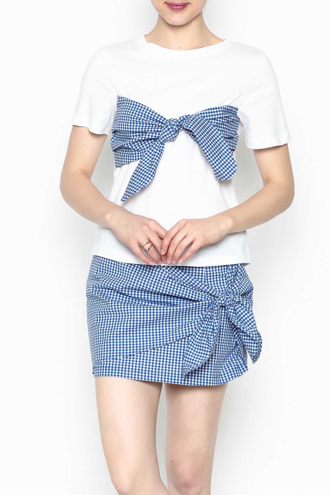 Lively Gingham Short Sleeve Top - Front Cropped Image