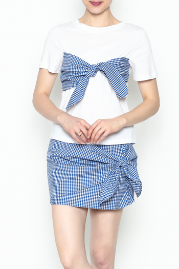 Lively Gingham Short Sleeve Top - Main Image