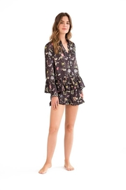 Livenza Lingerie Black Botanical Pajamas - Product Mini Image