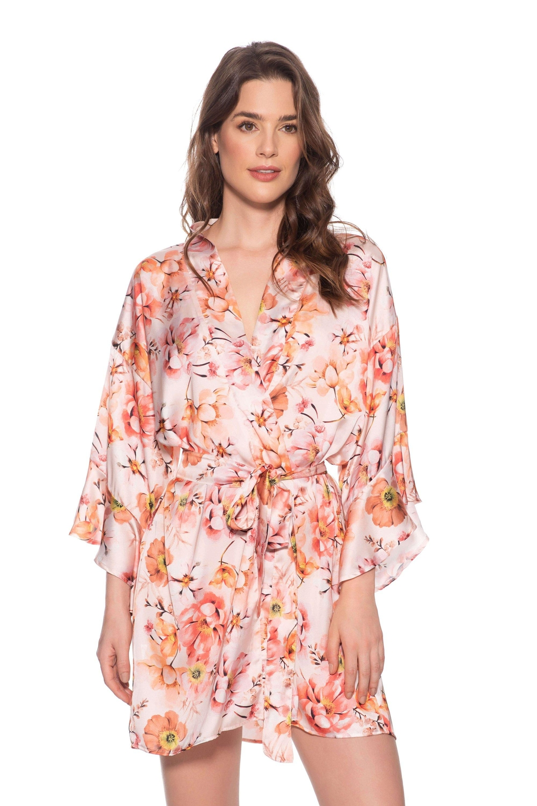 Livenza Lingerie Blush Flora Robe - Front Cropped Image