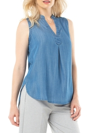 Liverpool  Mandarin collar sleeveless shirt in denim - Product Mini Image
