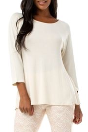 Liverpool  3/4 sleeve scoop neck top with panels (Pale Sand and Chambray Blue) 1255 - Product Mini Image