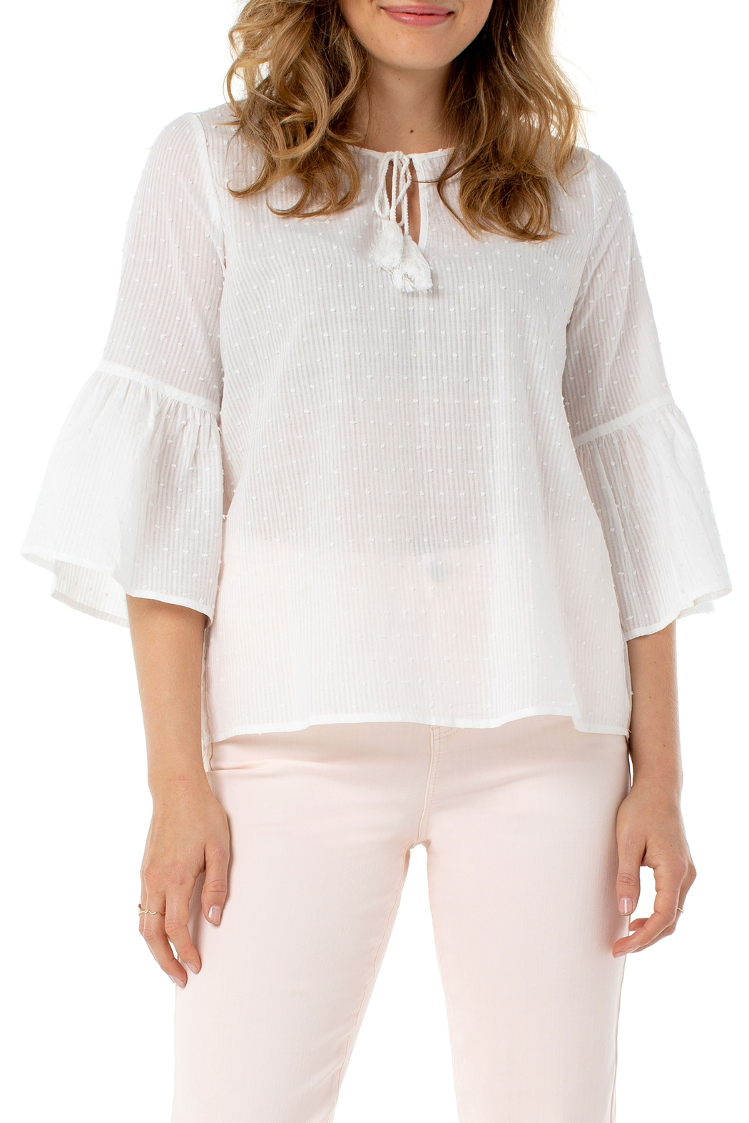 Liverpool  Bell Sleeve Popover White Swiss Dot Top - Main Image