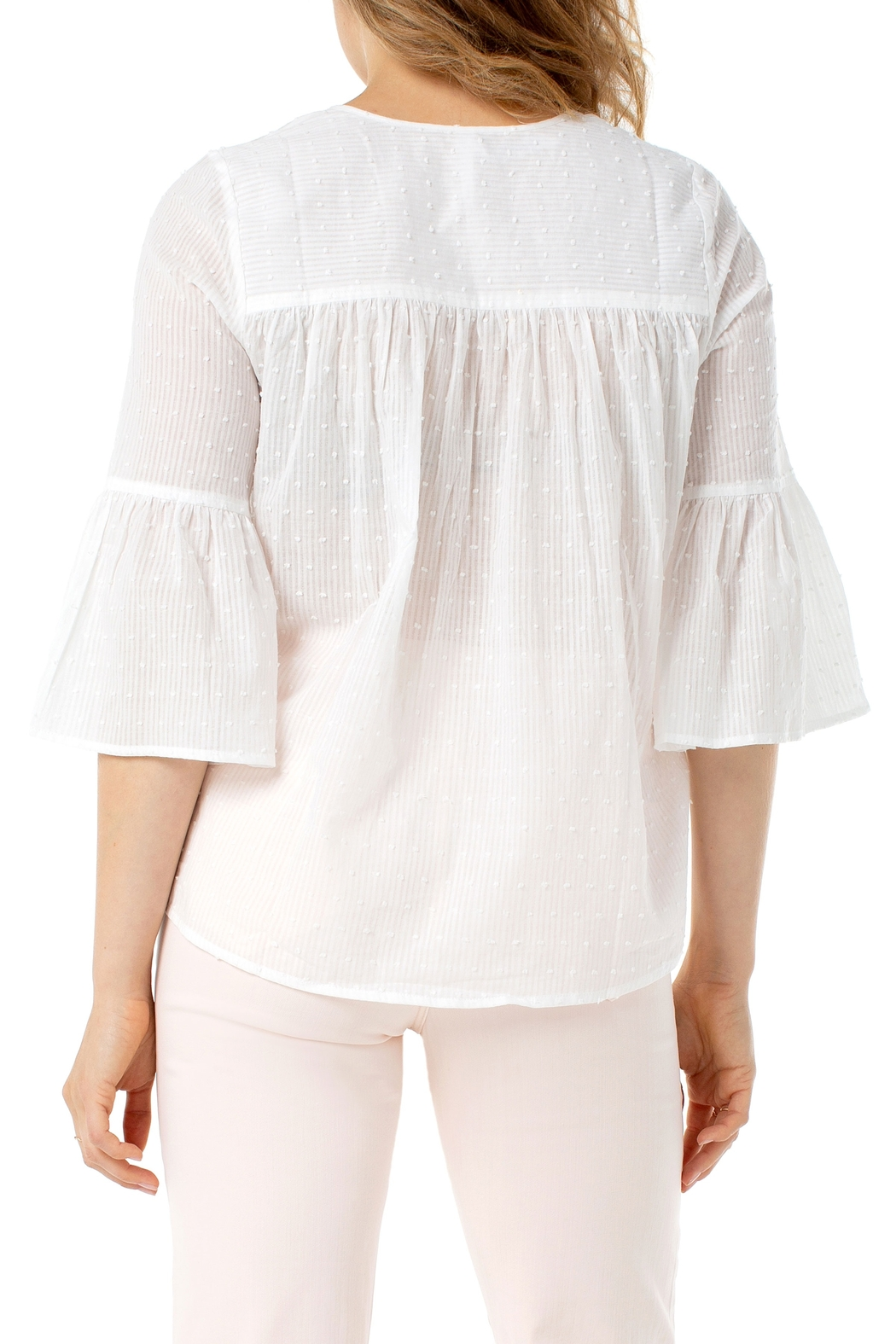 Liverpool  Bell Sleeve Popover White Swiss Dot Top - Front Full Image