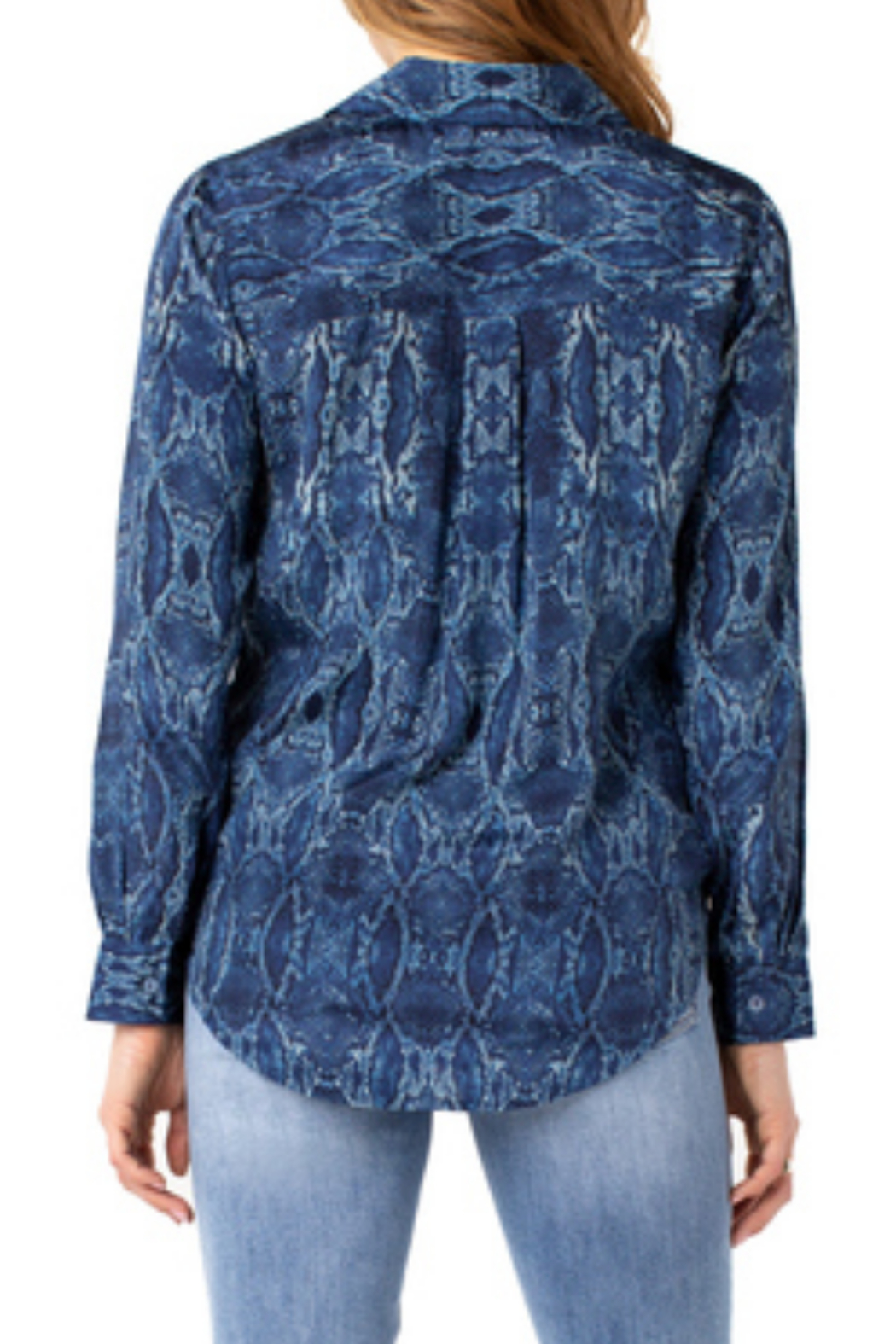 Liverpool  Button up blue woven snakeskin print blouse LM8332G69P9 - Front Full Image