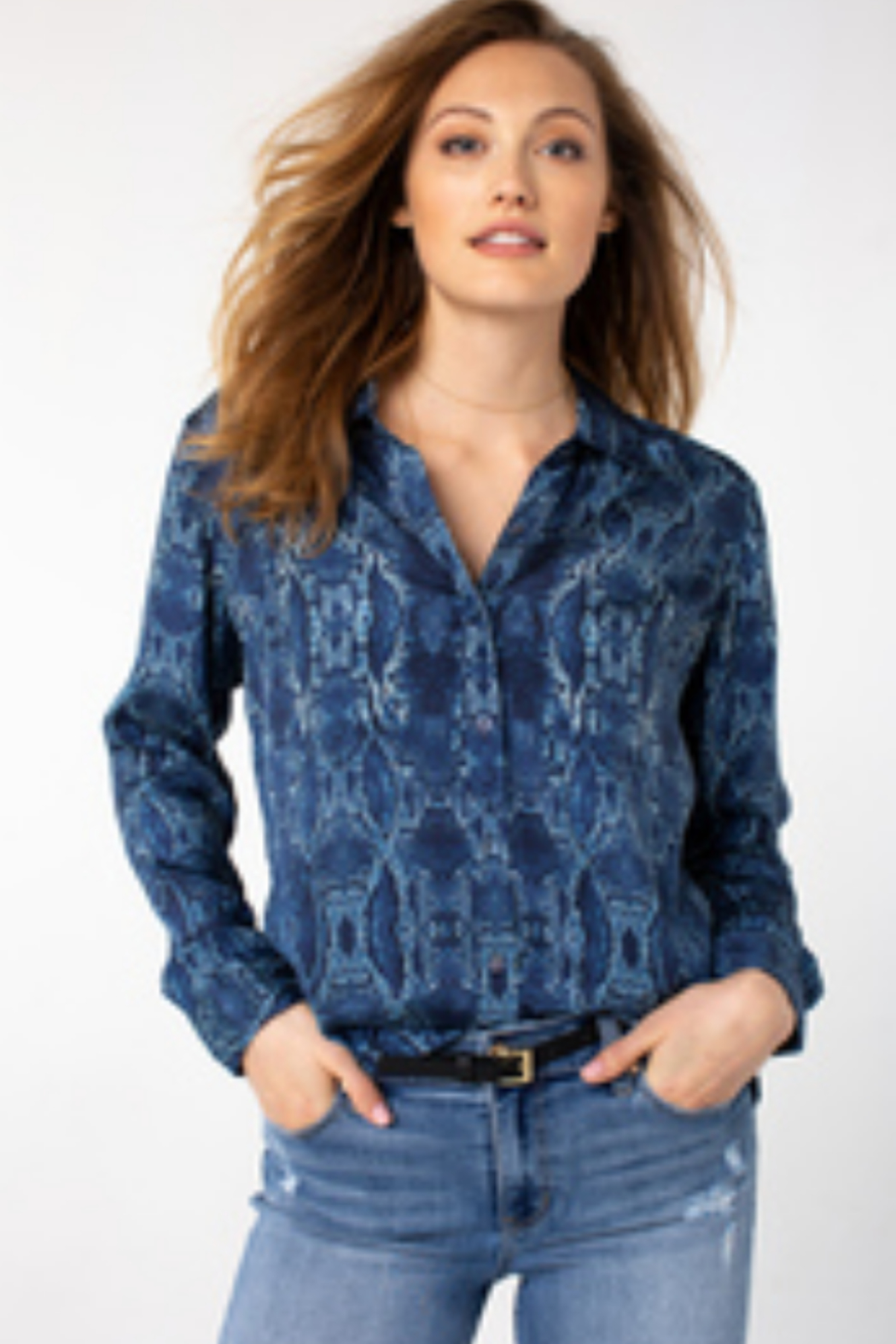 Liverpool  Button up blue woven snakeskin print blouse LM8332G69P9 - Main Image
