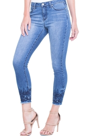 Liverpool Cropped Embroidered Jean - Front full body