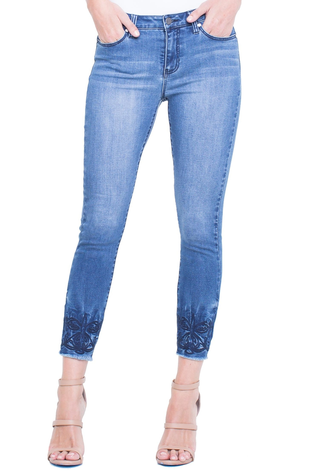 Liverpool Cropped Embroidered Jean - Main Image