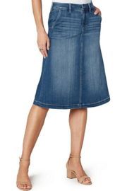 Liverpool  Denim Circle Skirt - Front cropped