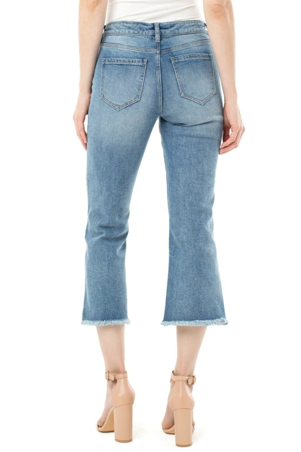 Liverpool Frayed High Waist Crop Flare Jeans - Side Cropped Image