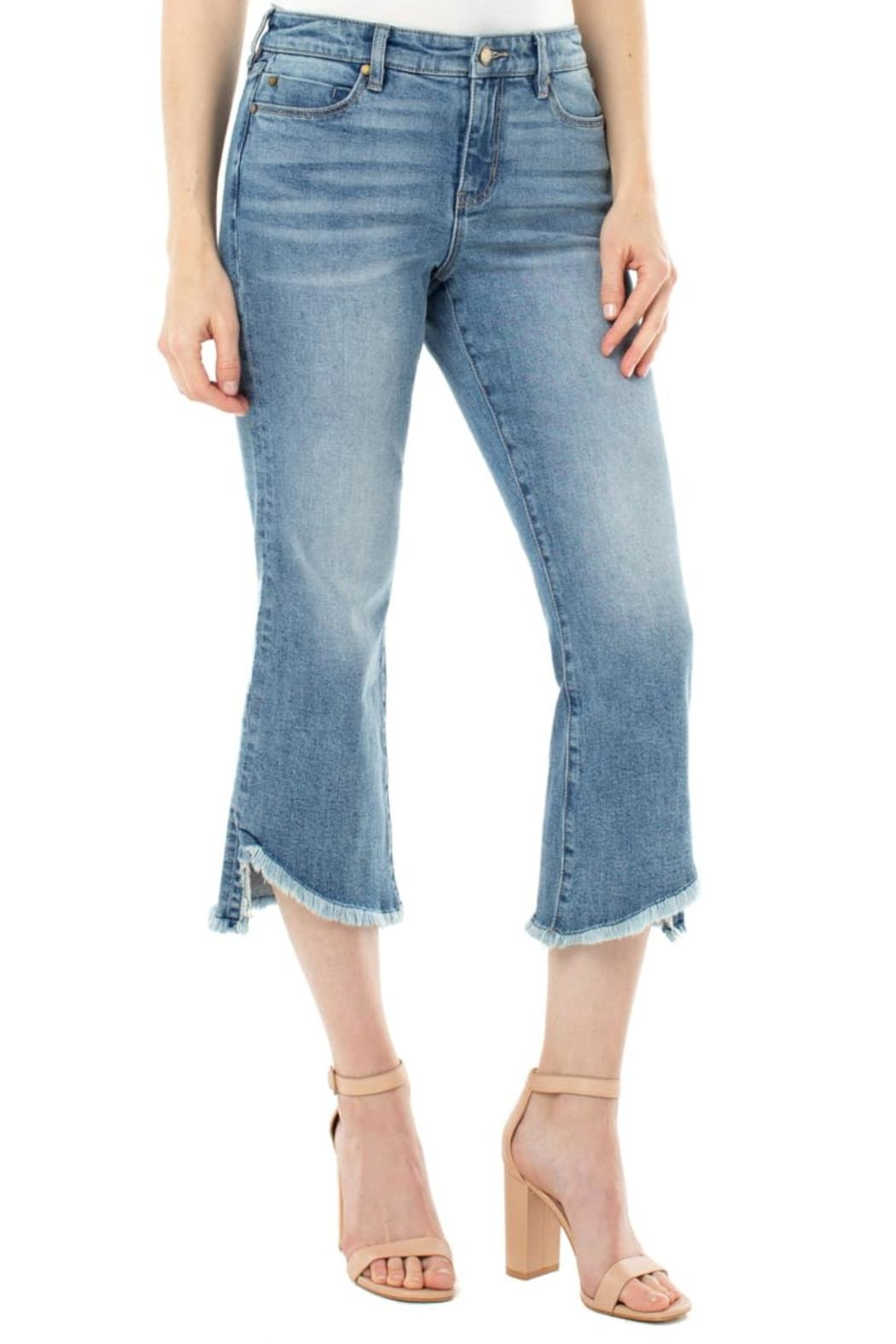 Liverpool Frayed High Waist Crop Flare Jeans - Front Full Image