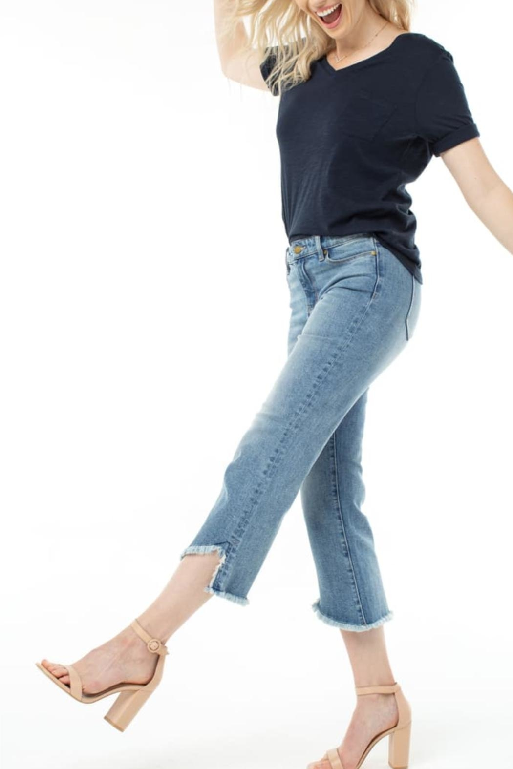 Liverpool Frayed High Waist Crop Flare Jeans - Main Image
