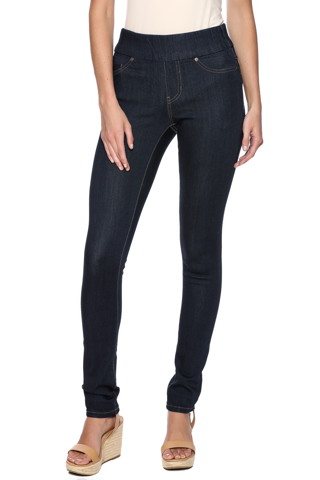 Liverpool Jeans Company Dark Indigo Sienna Jeggings - Front Cropped Image