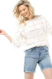 Liverpool  White Eyelet Dolman Sleeve Top 1253 - Front cropped
