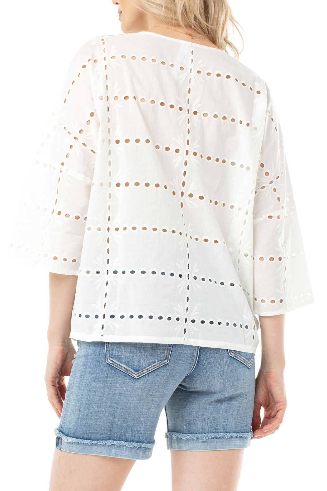 Liverpool  White Eyelet Dolman Sleeve Top 1253 - Front Full Image