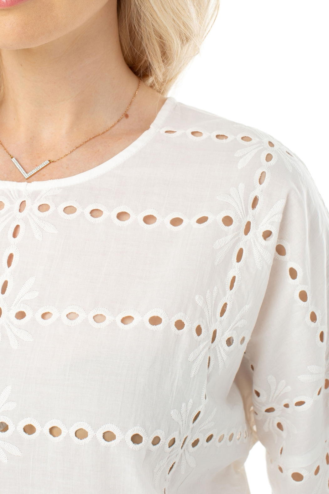 Liverpool  White Eyelet Dolman Sleeve Top 1253 - Side Cropped Image