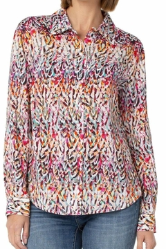 Liverpool Jean Company Abstract Feather Blouse - Product List Image