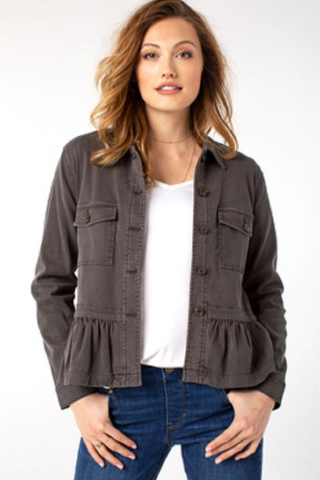 Liverpool Jean Company Cargo Peplum Jacket - Front Cropped Image