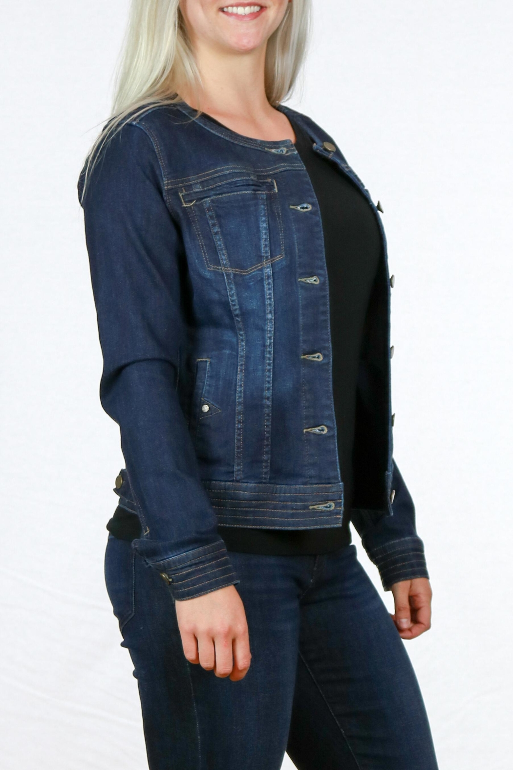 Liverpool Jean Company Cordless Denim Jacket - Front Full Image