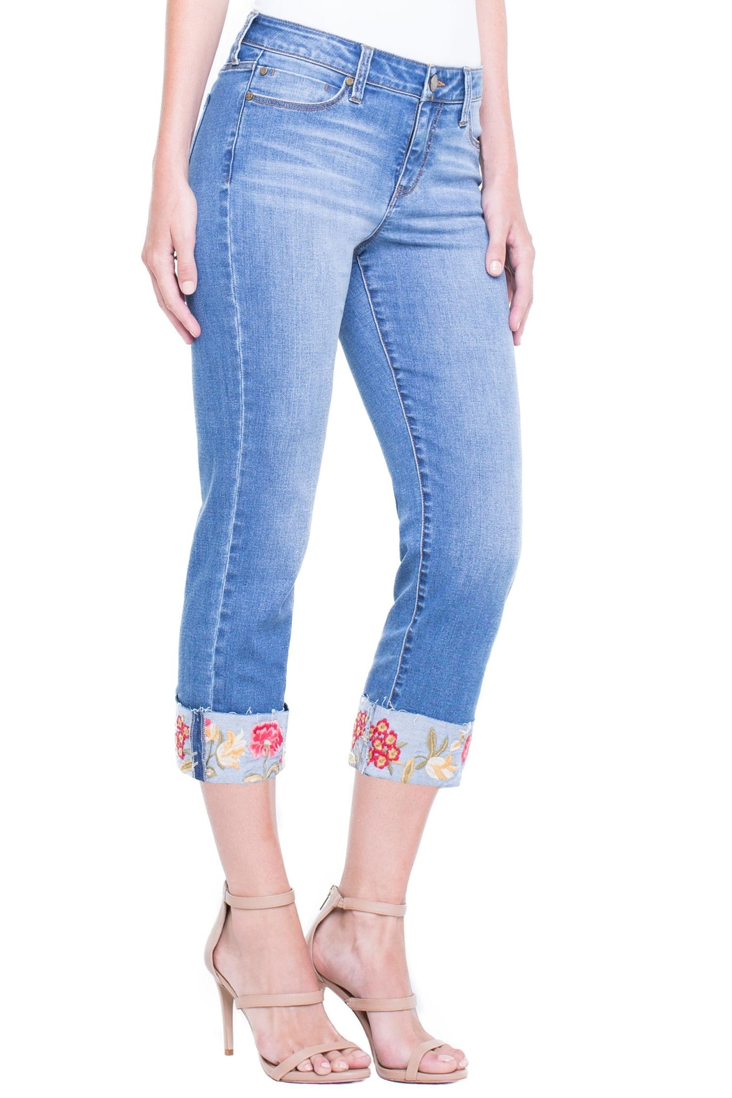 Liverpool Jean Company Floral Cuffed Jeans - Front Full Image