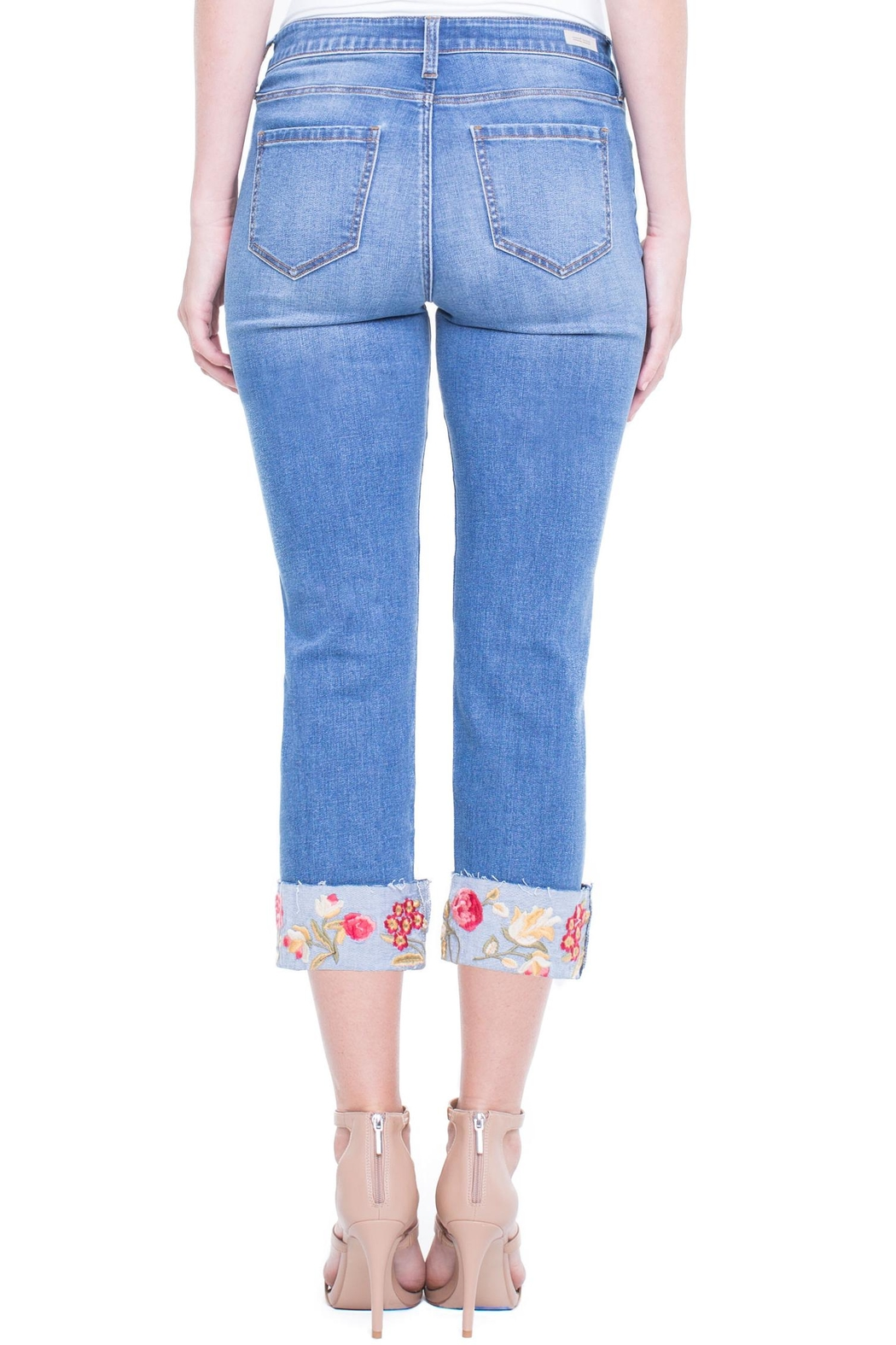 Liverpool Jean Company Floral Cuffed Jeans - Side Cropped Image