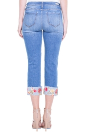 Liverpool Jean Company Floral Cuffed Jeans - Side cropped