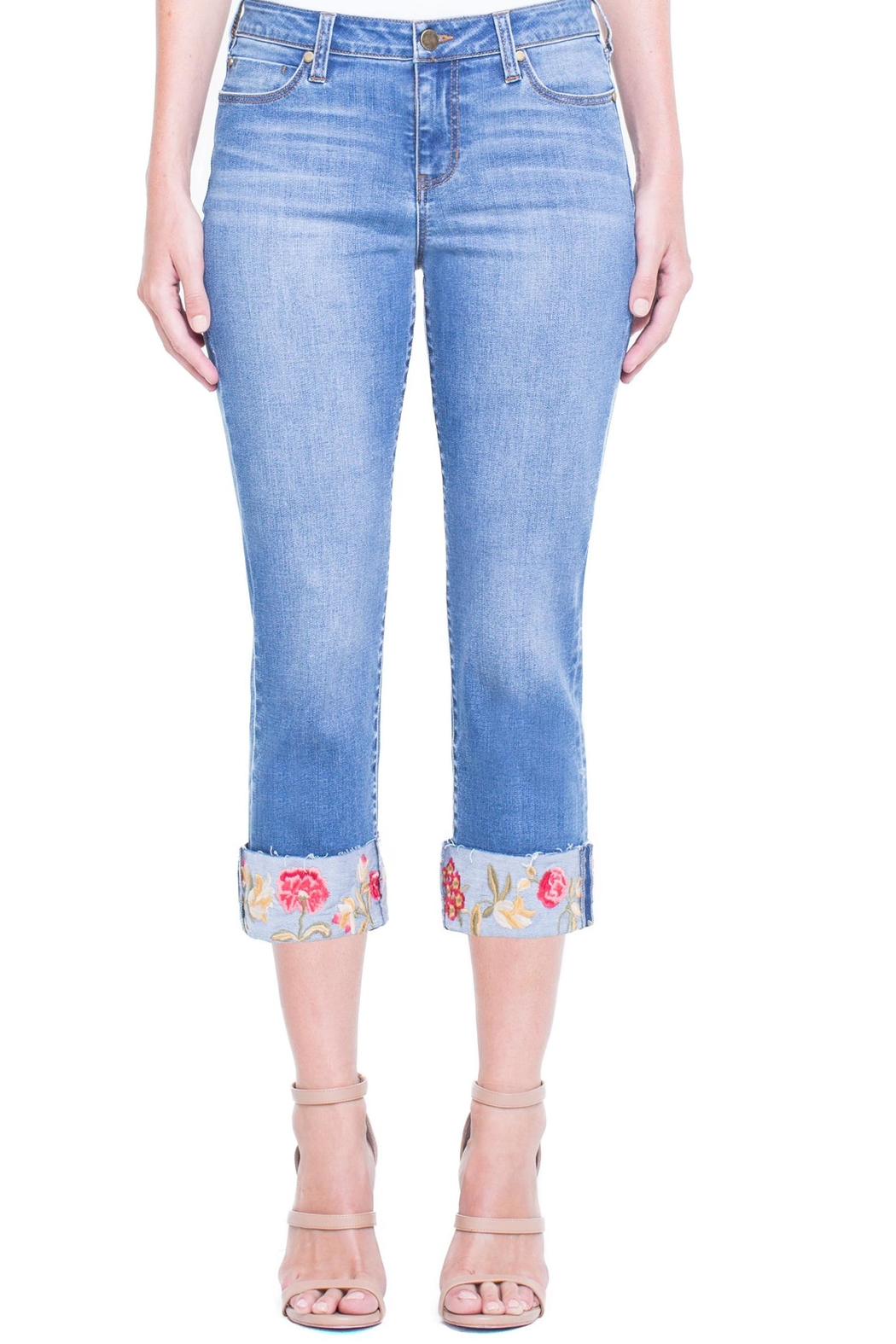 Liverpool Jean Company Floral Cuffed Jeans - Main Image