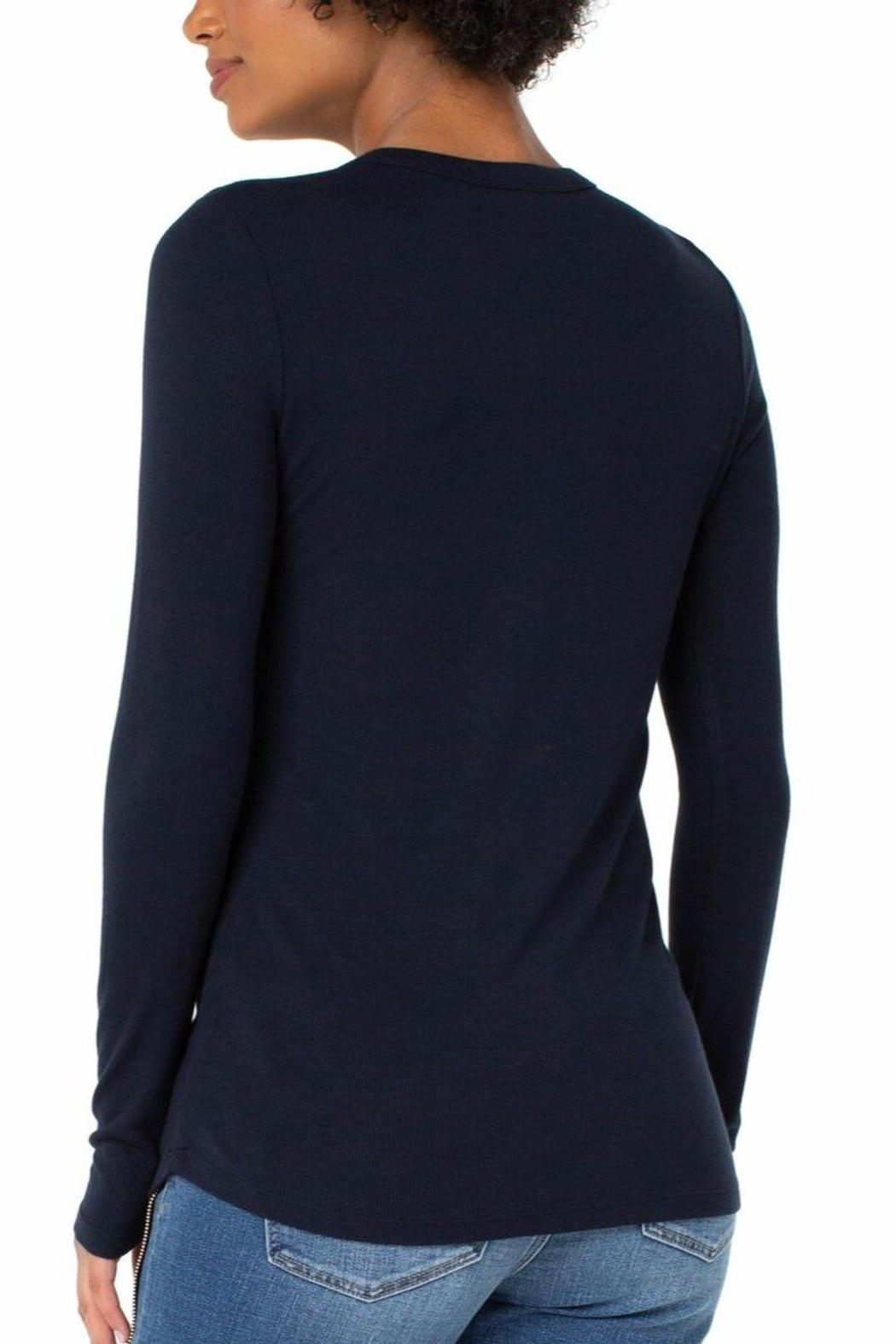Liverpool Jean Company Knit Henley Top - Front Full Image
