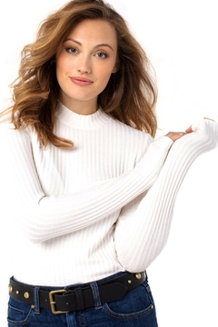 Liverpool Jean Company Mock Neck Long Sleeve Knit Top - Product List Image