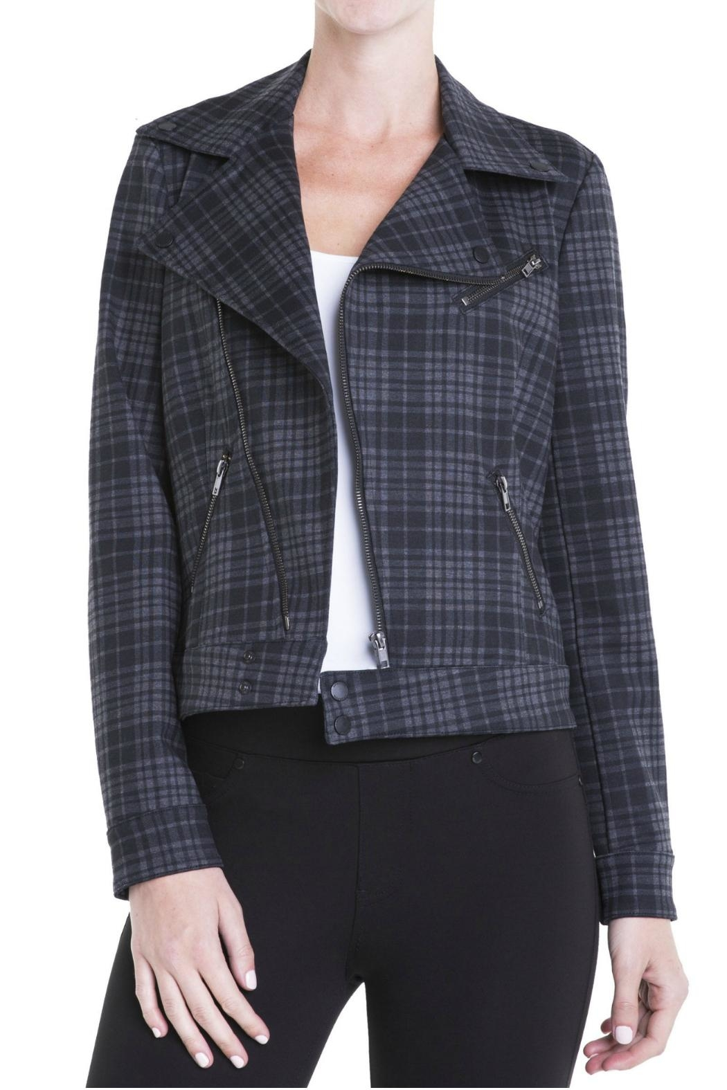 Liverpool Jean Company Plaid Moto Jacket - Front Cropped Image