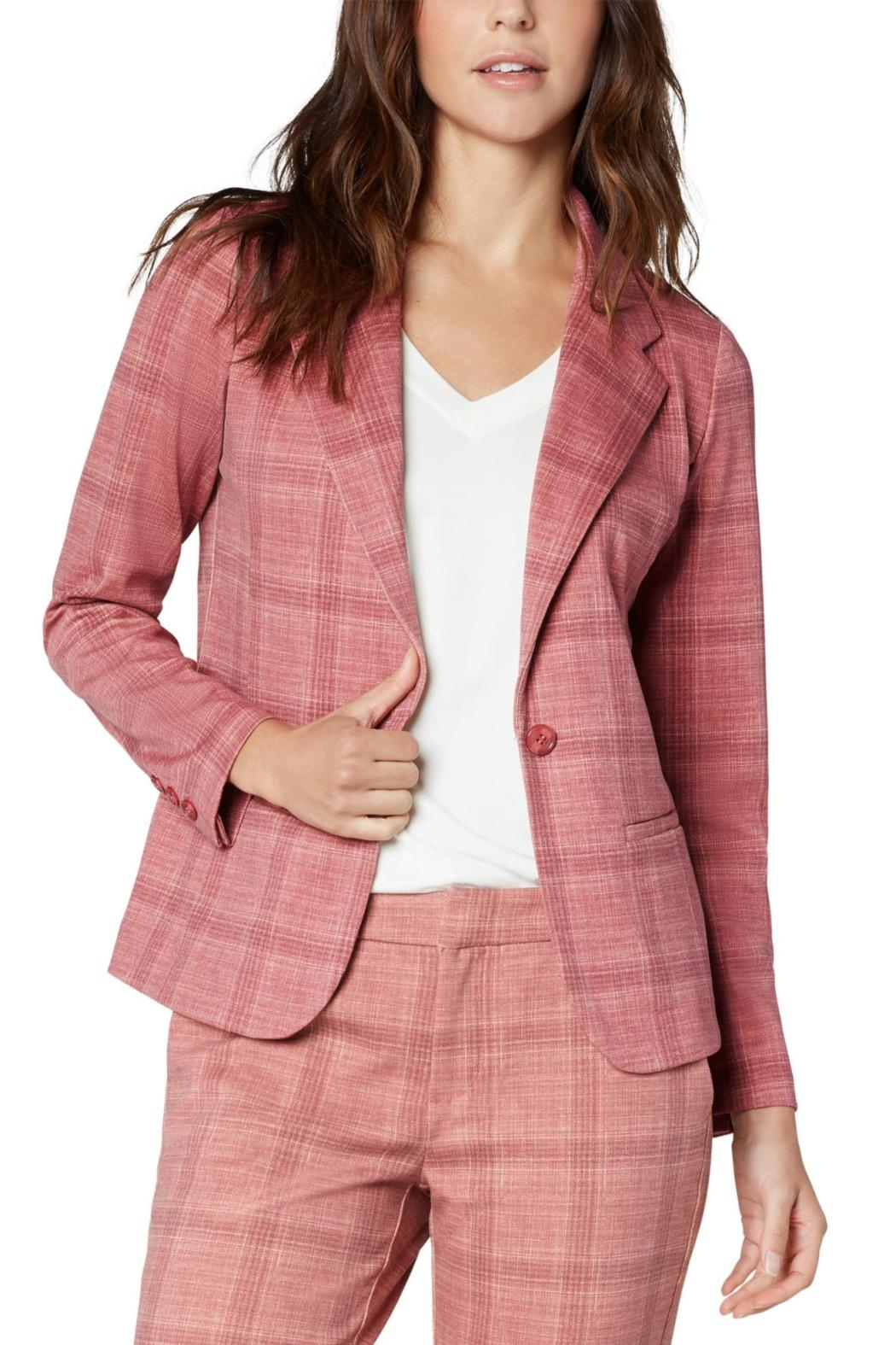 Liverpool Jean Company Tartan Plaid Blazer - Front Cropped Image