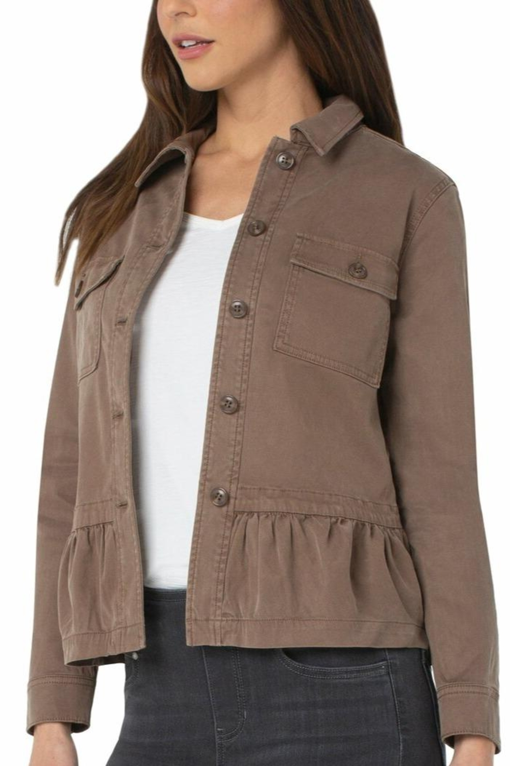 Liverpool Jeans Company Cargo Jacket With Peplum Hem - Front Full Image