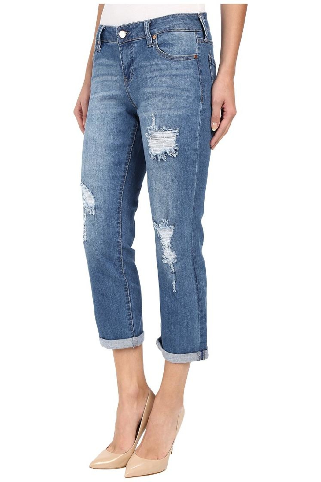 Liverpool Jeans Company Distressed Boyfriend Jeans - Front Full Image