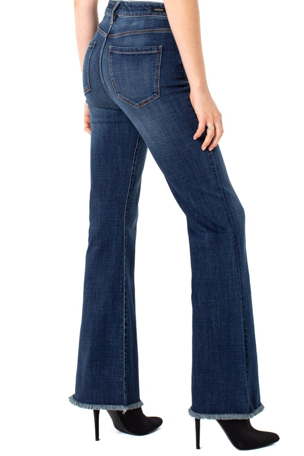 Liverpool Jeans Company Hi-Rise Flare Exposed Buttons Fray Hem Jeans - Main Image