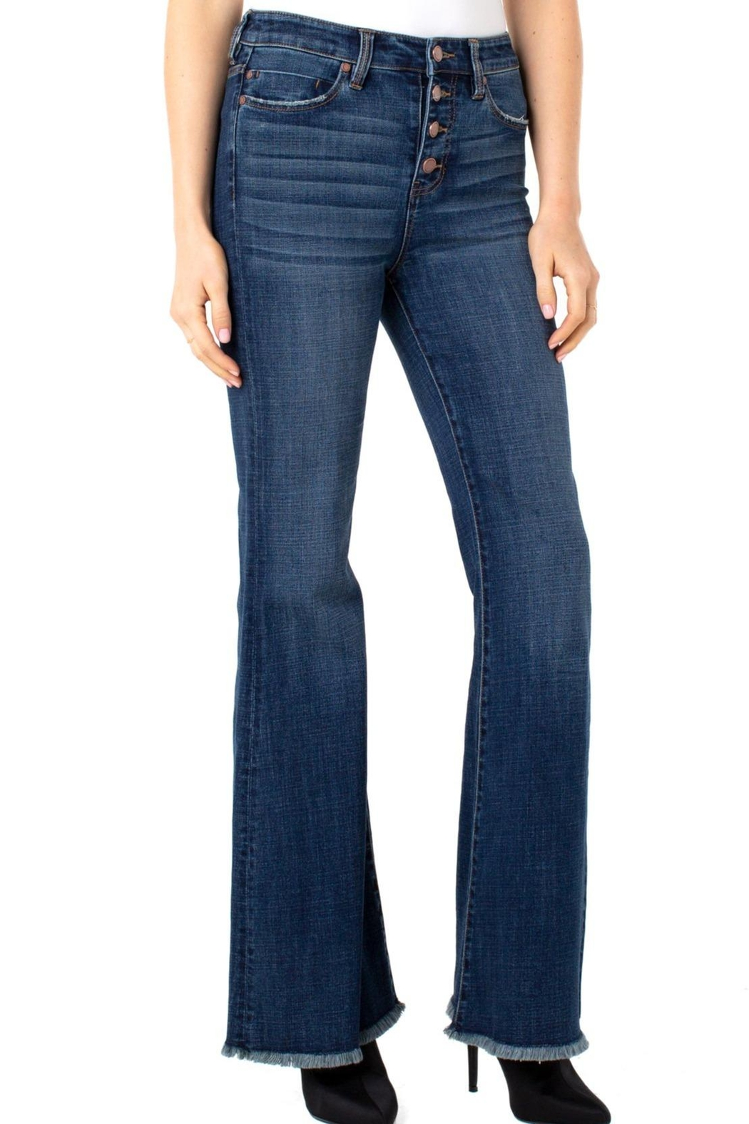 Liverpool Jeans Company Hi-Rise Flare Exposed Buttons Fray Hem Jeans - Side Cropped Image