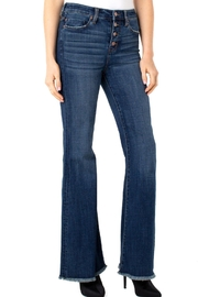 Liverpool Jeans Company Hi-Rise Flare Exposed Buttons Fray Hem Jeans - Side cropped