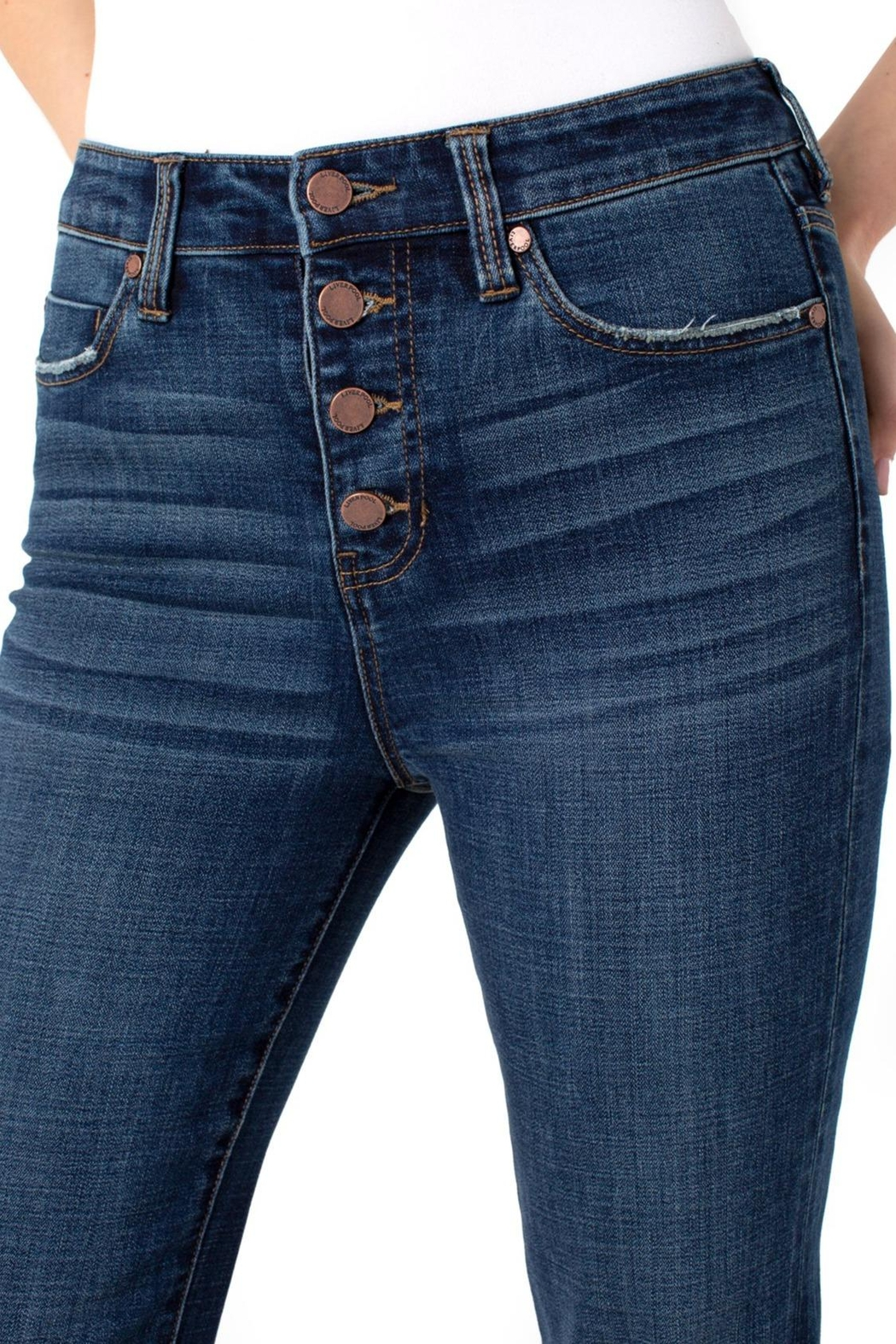 Liverpool Jeans Company Hi-Rise Flare Exposed Buttons Fray Hem Jeans - Front Full Image