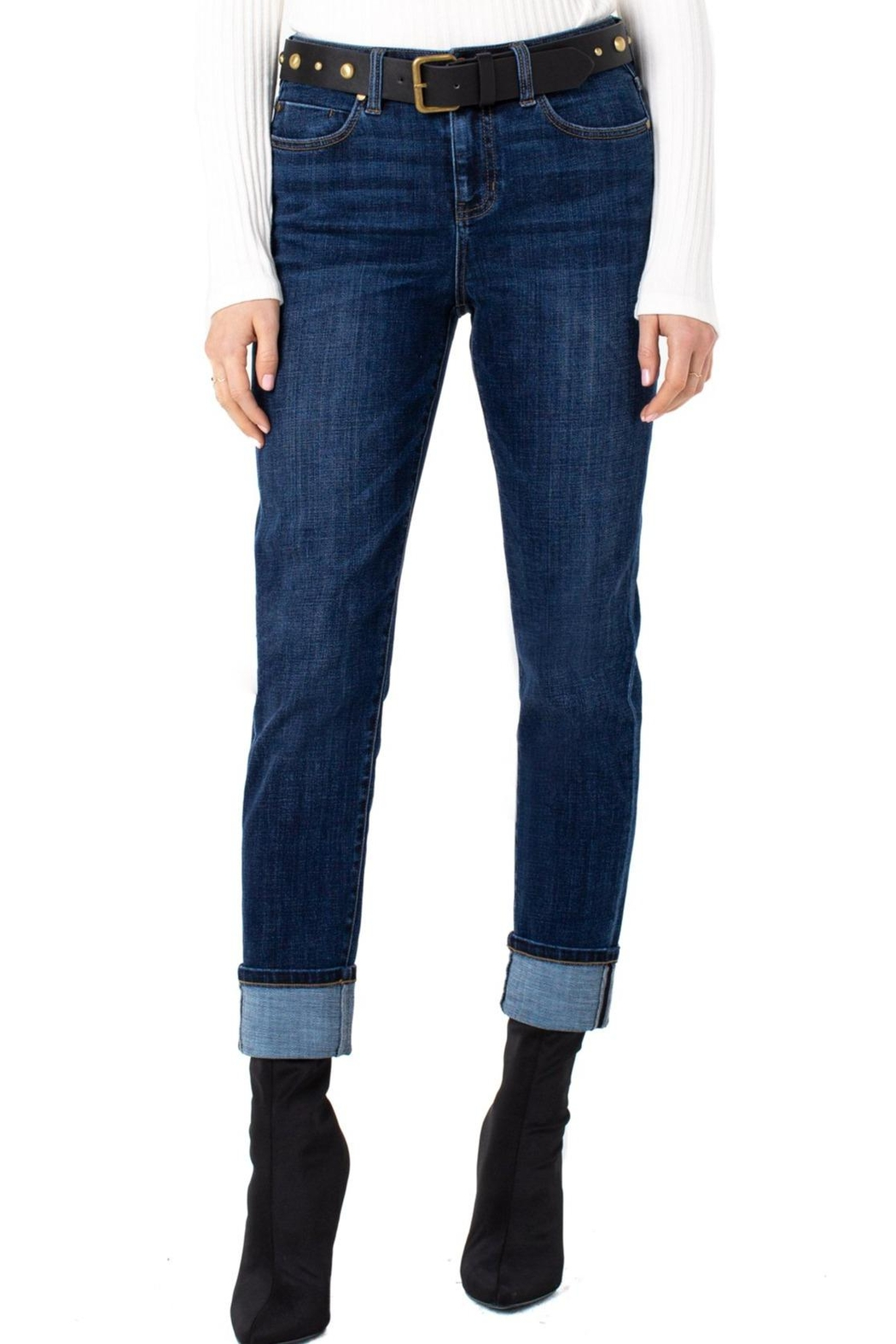 Liverpool Jeans Company Marley Girlfriend Cuffed With Belt Jeans - Back Cropped Image