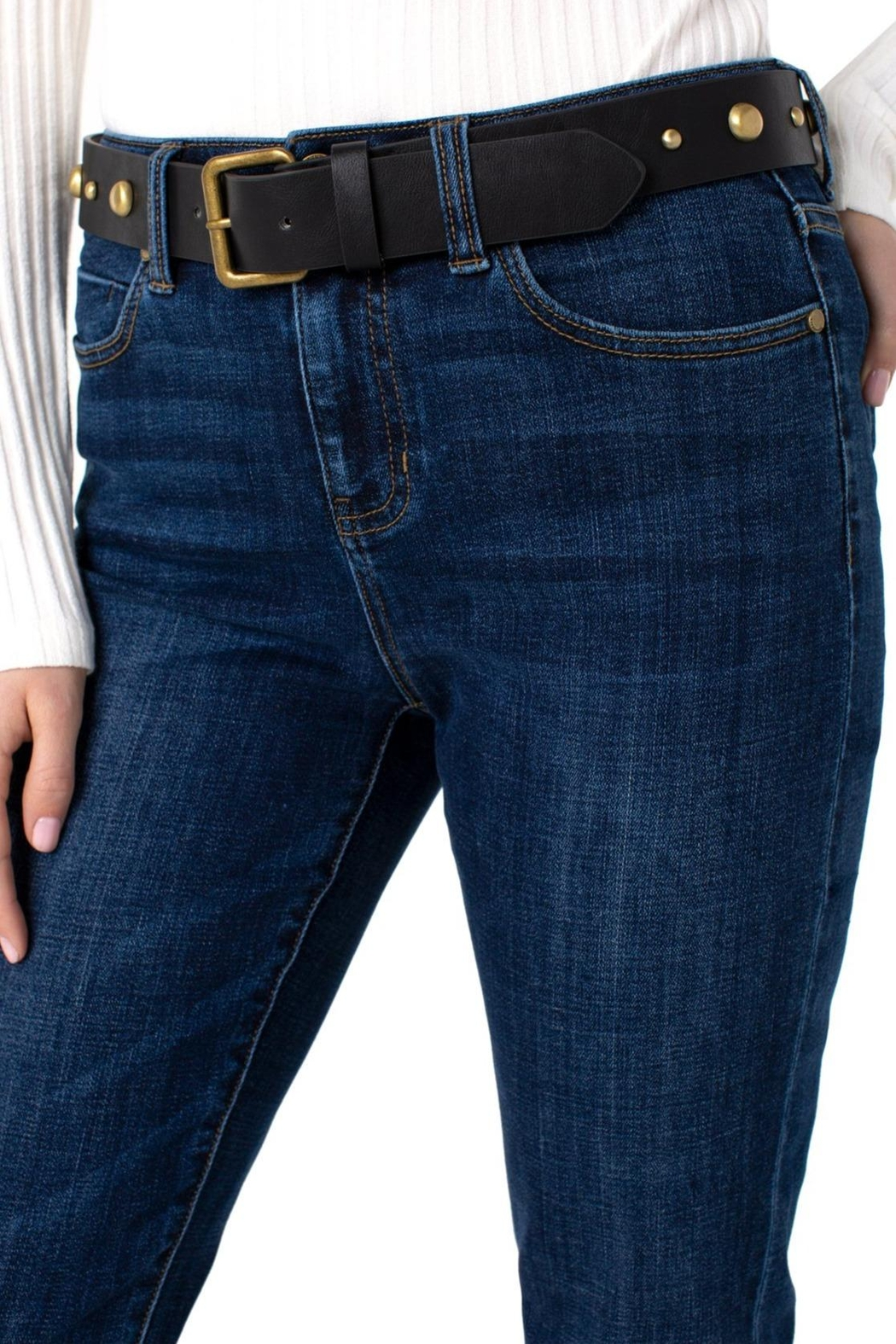 Liverpool Jeans Company Marley Girlfriend Cuffed With Belt Jeans - Front Full Image