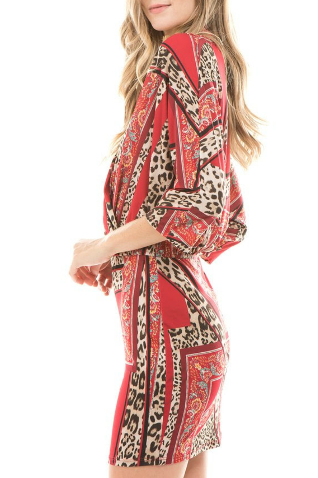 Vava by Joy Hahn Livia leopard floral kimono dress - Front Full Image